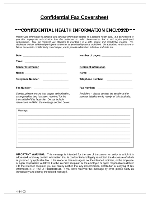 Confidential Fax Cover Sheet 3