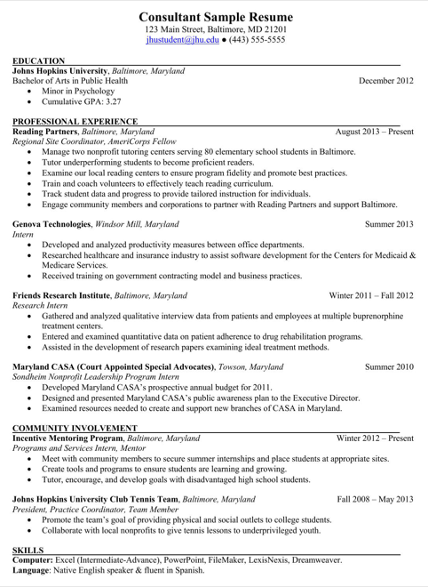 Consultant Sample Resume