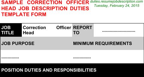 Correction Officer Head Job Description