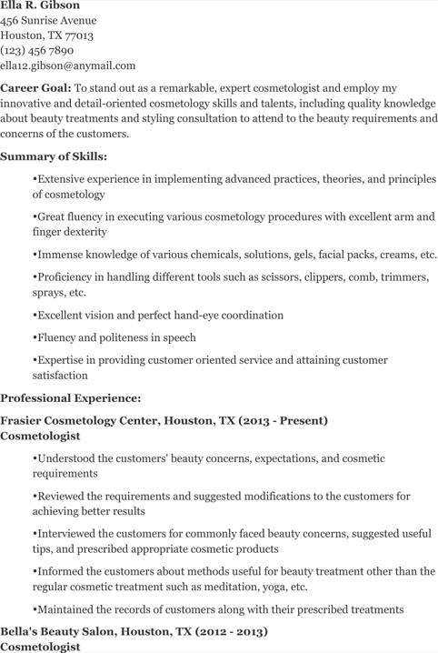 Download Cosmetology Resume Templates For Free