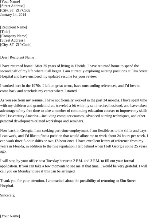 Cover Letter for Part Time Nursing Position
