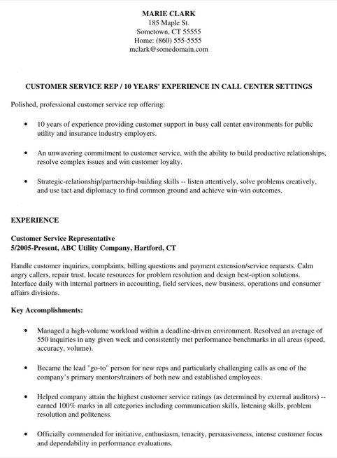 Customer Service Resume Sample 2