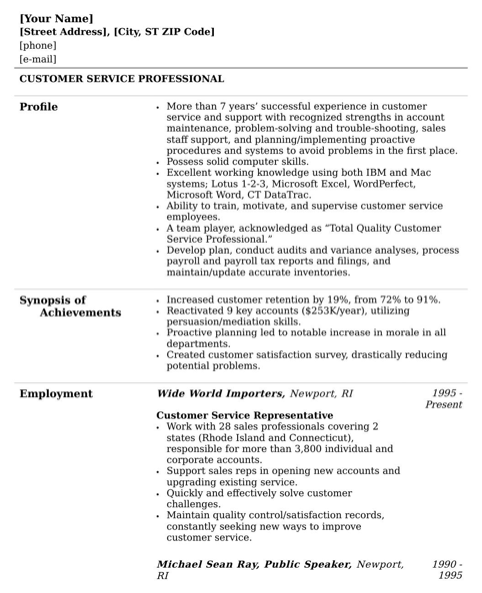 Customer Service Resume Template 1
