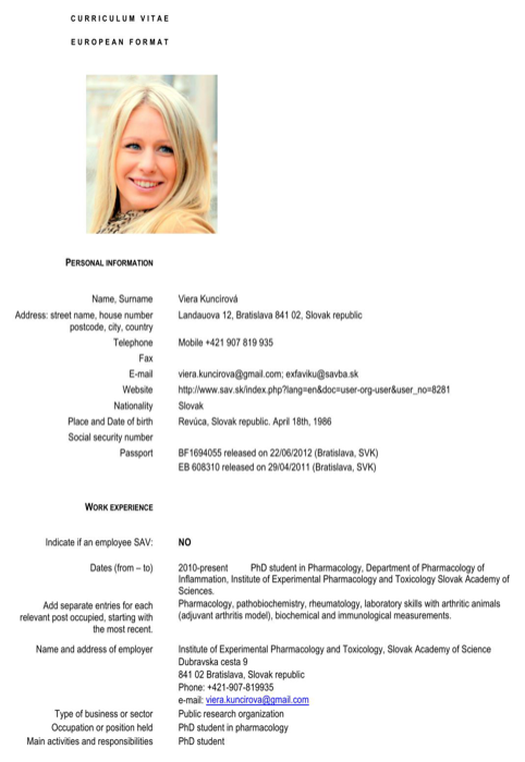 Download Slovakia CV Template for Free - FormTemplate