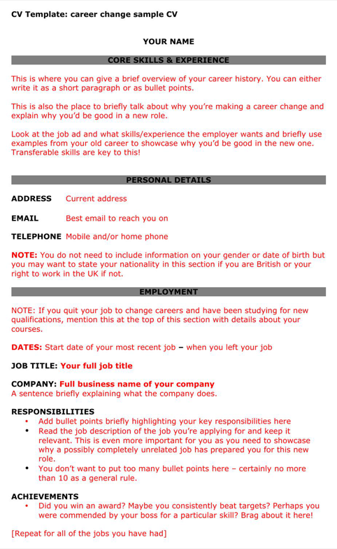 download career change cv template for free