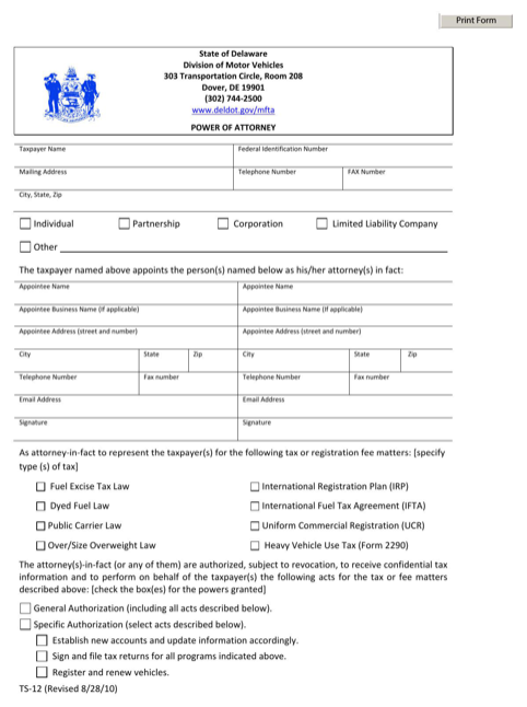 Delaware Division of Motor Vehicles Power of Attorney Form