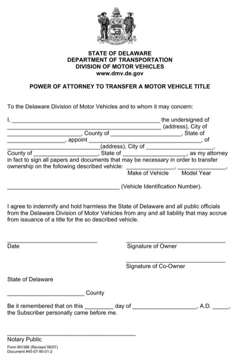 Delaware Power of Attorney to Transfer a Motor Vehicle Title Form