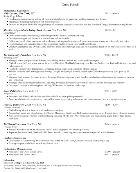 Digital Editor Resume