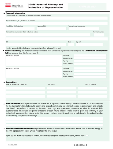 District of Columbia Tax Power of Attorney Form