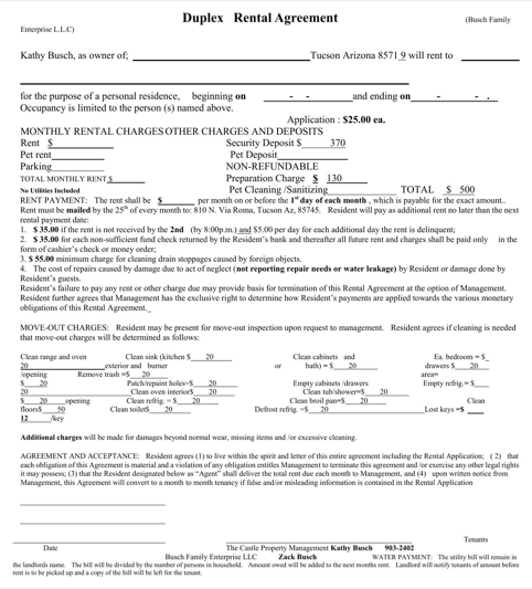 Duplex Rental Agreement