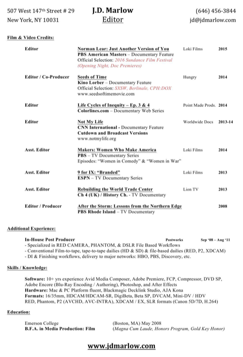 Editor Resume Sample