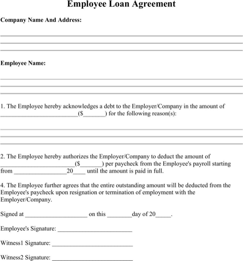 Download Employee Loan Agreement For Free Formtemplate