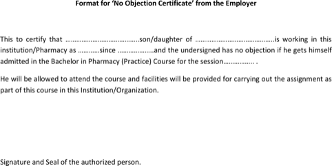 Employer No Objection Certificate