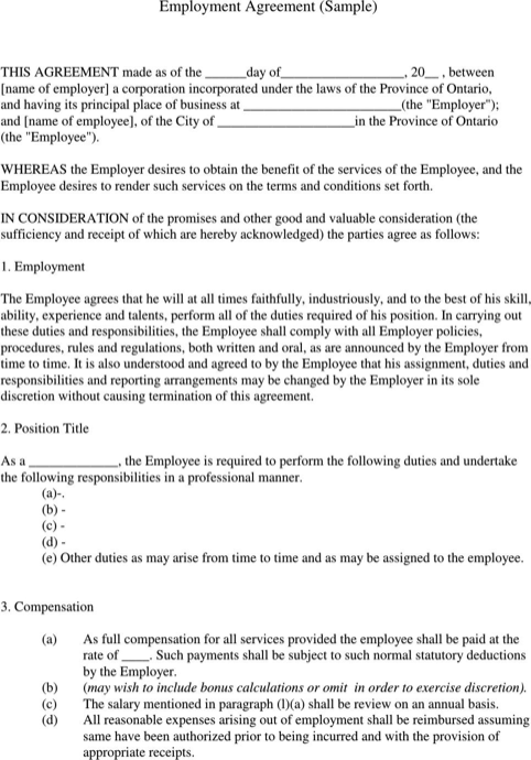 Employment Agreement Sample