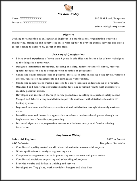 Engineer Resume Format Free Download