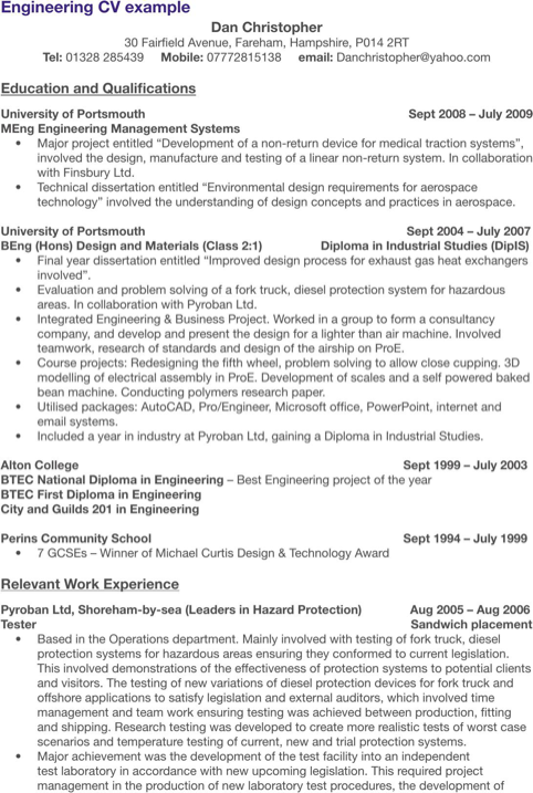 Engineering CV Example