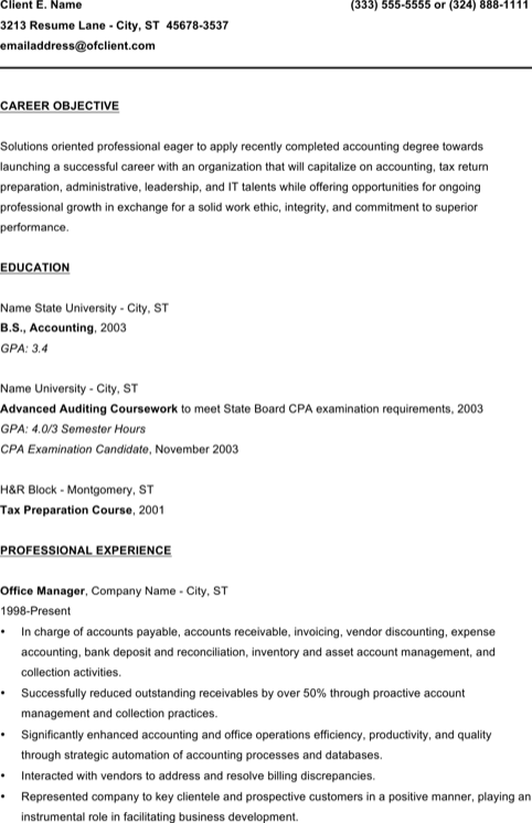 Entry Level Bookkeeper Resume