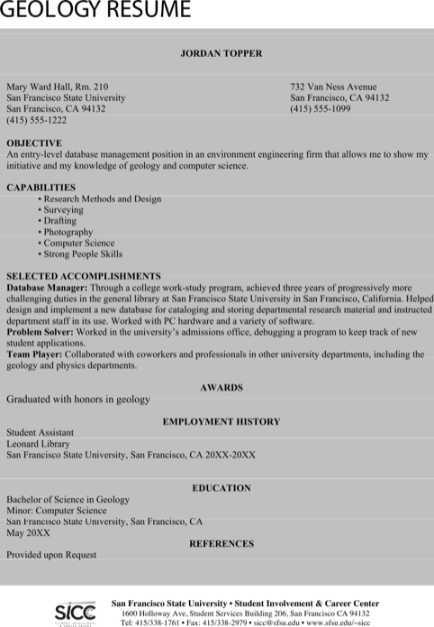 Entry Level Geologist Resume