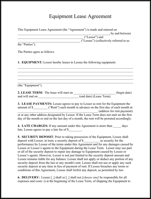 Example Equipment Lease Agreement Template