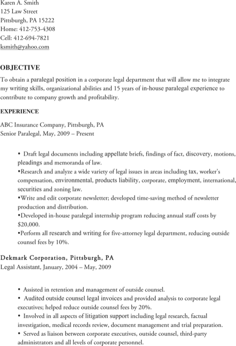Experienced Corporate Paralegals Resume