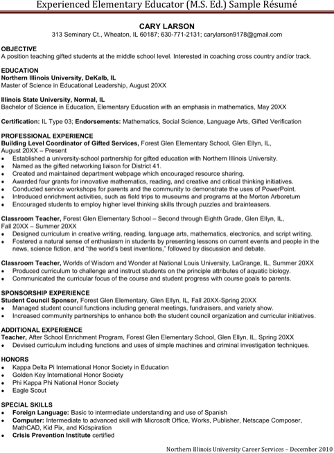 Experienced Elementary Teacher Resume