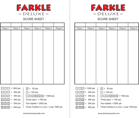 photograph relating to Printable Farkle Score Sheets called Farkle Rating Sheets Modern Manufacture Video games