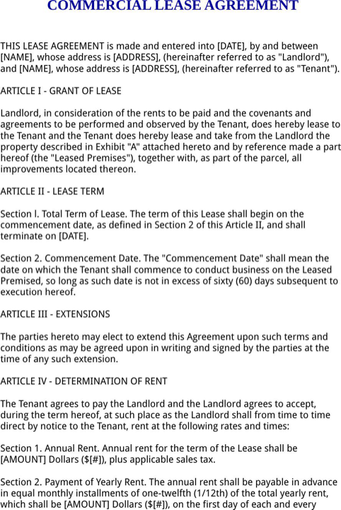 Florida Commercial Lease