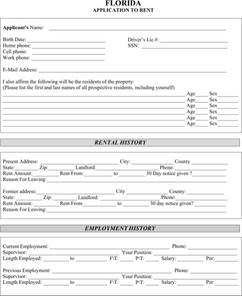 Florida Rental Application