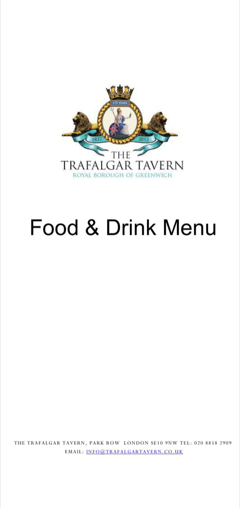 Food & Drink Menu - Trafalgar Tavern