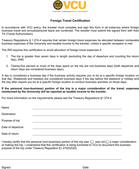 Foreign Travel Certification Template