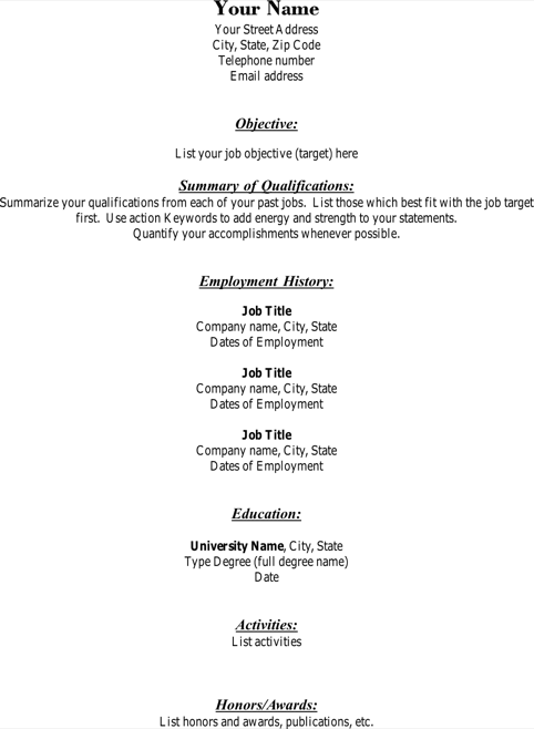Free Blank Resume Template Functional Pdf Download
