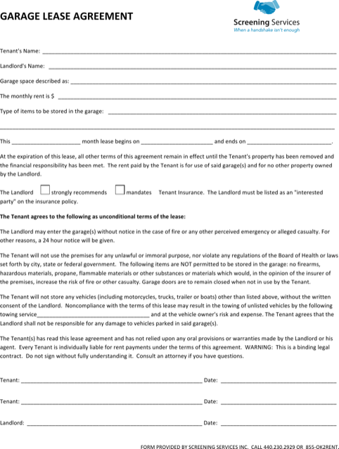 Garage Lease Agreement Form