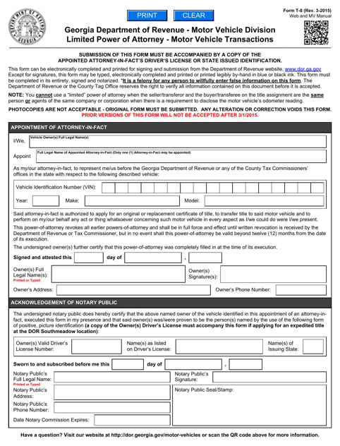 Georgia Department of Revenue - Motor Vehicle Division Limited Power of Attorney - Motor Vehicle Transactions