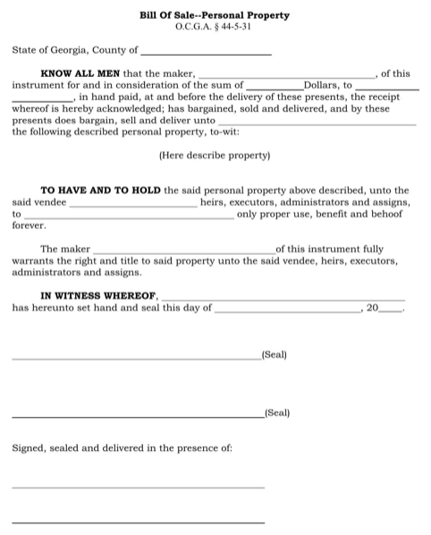 Georgia Personal Property Bill of Sale Form