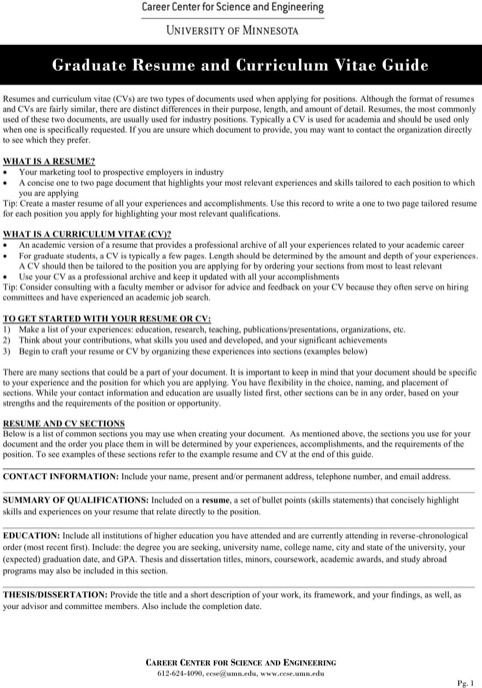 Graduate Resume and Curriculum Vitae Guide