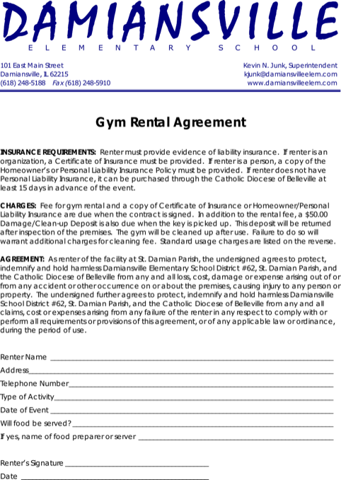 Gym Rental Agreement Contract Template Pdf Printable