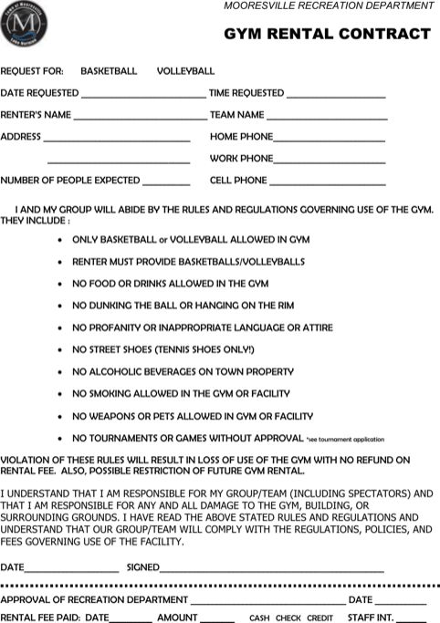 Gym Rental Contract Template Pdf Format Download
