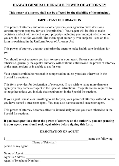 Hawaii General Durable Power of Attorney Form