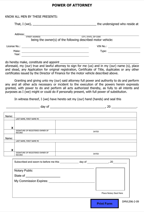 Hawaii Motor Vehicle Power of Attorney Form