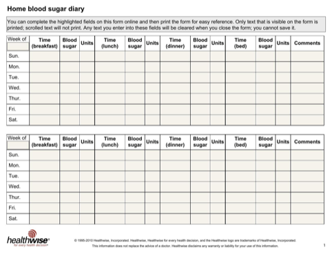 Home Blood Sugar Diary