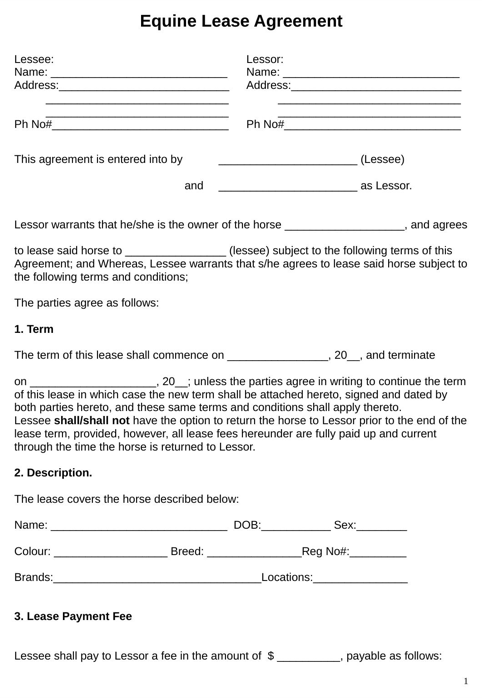 Download Horse Lease Agreement For Free Formtemplate
