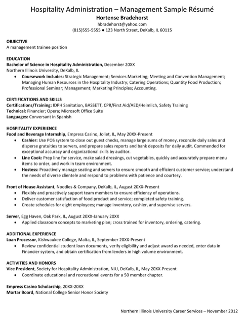 Hospitality Administration Management Sample Resume