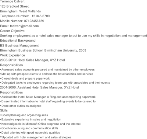 Hotel Sales Manager Resume