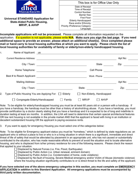 Housing Application Form