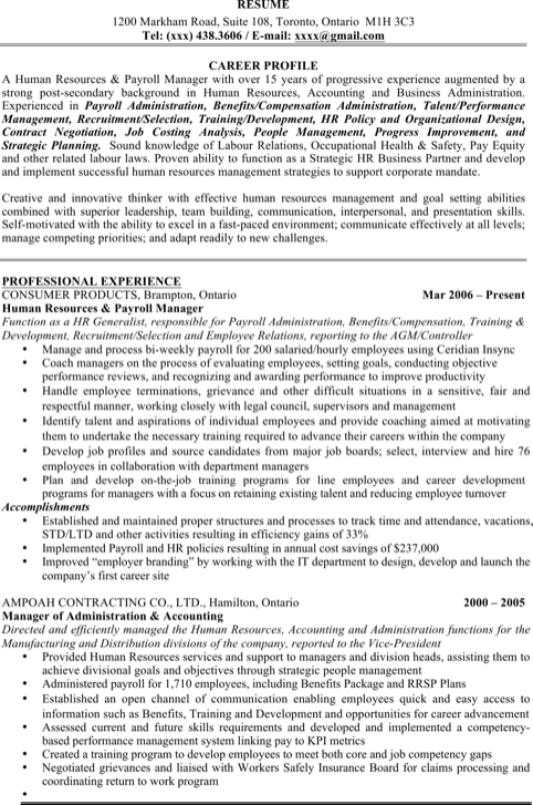Human Resources Resume Sample1