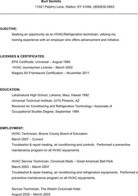 Hvac Service Technician Resume Free Download1