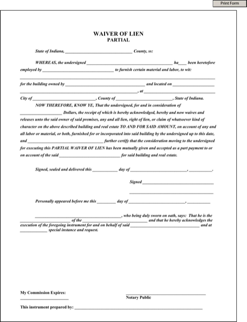 Download Indiana Lien Release Form For Free Formtemplate