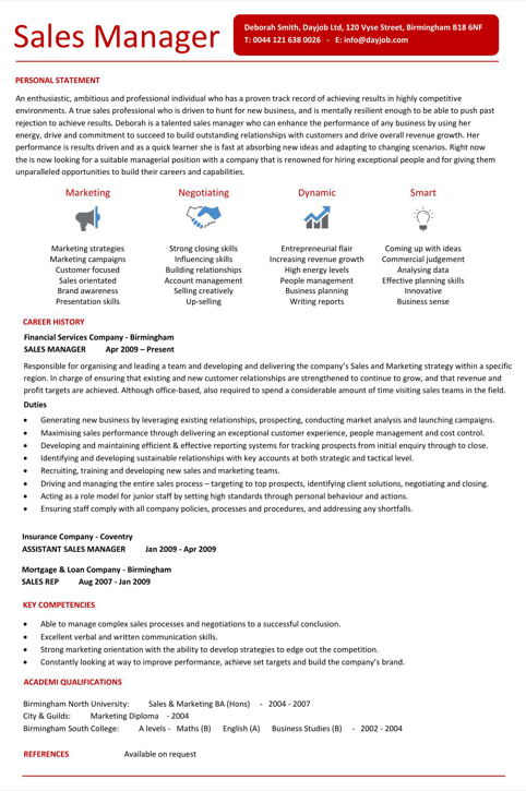 Innovative Sales Manager Resume