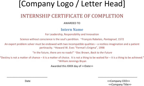 Internship Completion Certificate Template