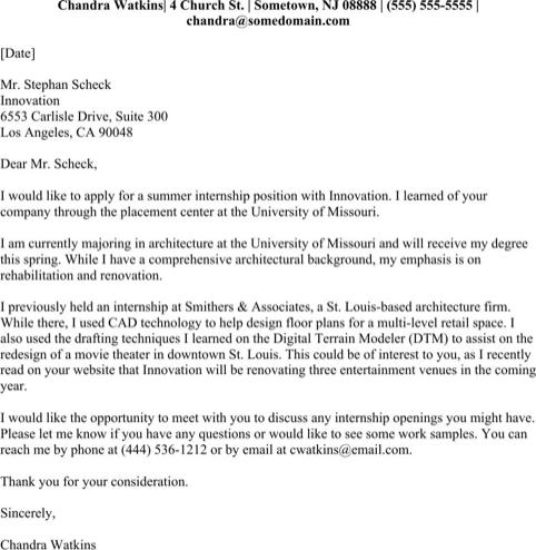 Internship Cover Letter Examples